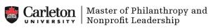 Carleton University Master of Philanthropy and Non-Profit Leadership